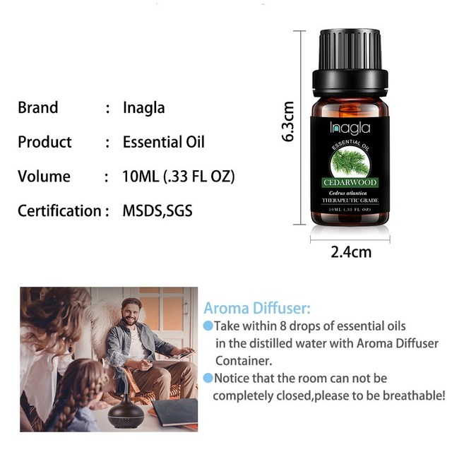 Inagla Sandalwood Essential Oil Pure Natural 10ML Pure Essential Oils Aromatherapy Diffusers Oil Healthy Calming Air Fresh Care 5