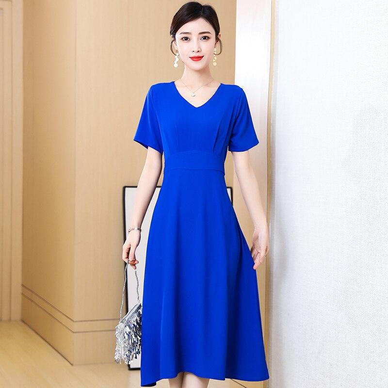 Women Elegant Red Dress New Ladies Short Sleeve V-Neck Slim Summer Dress Female Vestidos New Women'S Clothing 5