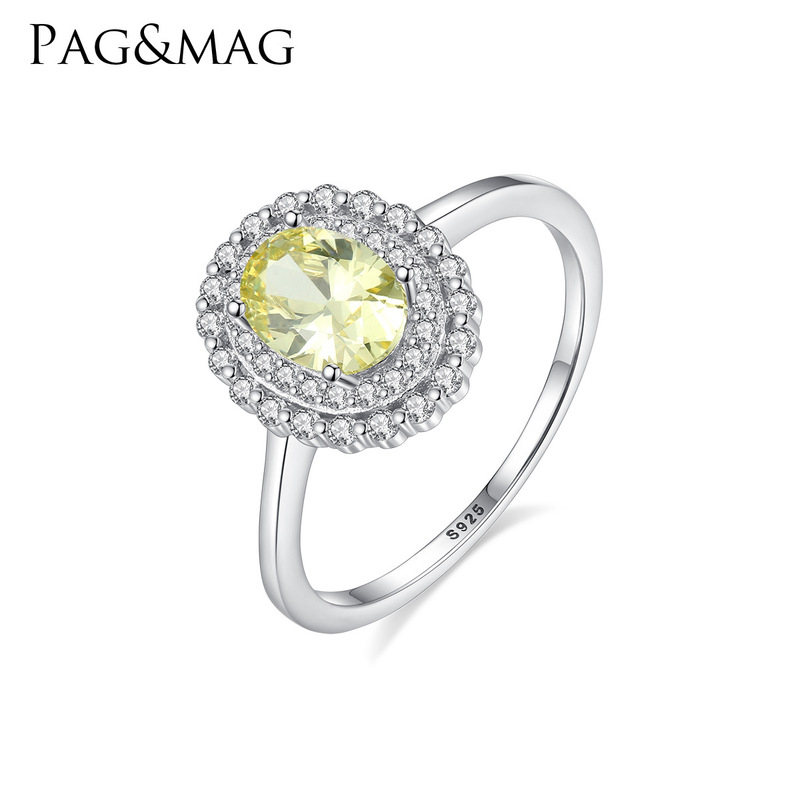 PAG&MAGS 925 sterling silver ring female cross-border new crystal color fashion ring jewelry treasure a undertakes(China)