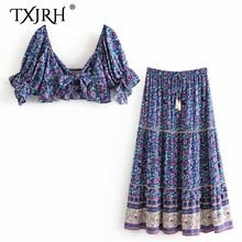 TXJRH Boho Floral Print Deep V-Neck Tied Bow Lantern Sleeve Blouse Top Elastic Waist Lacing up Tassel A-Line Skirt 2 Pieces Sets(China)