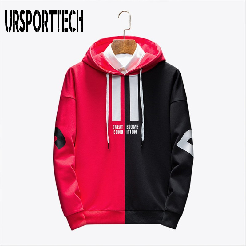 Black Red Splice Hoodies Oversize Hip-hop Style Letter Print Hoodie Autumn Winter Warm Thick Hoodies Couple Plus Size M-3XL