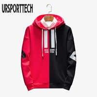 Schwarz Rot Splice Hoodies Oversize Hip-Hop Stil Brief Drucken Hoodie Herbst Winter Warm Dicken Pullover Paar Plus Größe M-3XL