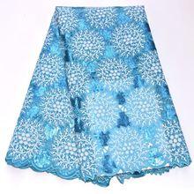 Великолепная Небесно голубой Африканский ажурная органза, кружево ткань швейцарская вуаль с полностью в блестках бисером и камнями высокого качества DG225