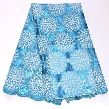 Gorgeous Sky blue African handcut organza lace fabric Swiss voile lace with Allover sequins beads and stone high quality DG225