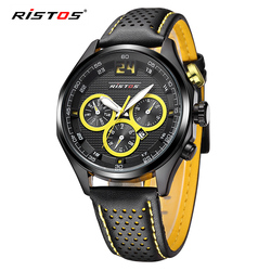 RISTOS 2020 zegarki kwarcowe mężczyźni Casual skórzany analogowy zegarek wojskowy Reloj Masculino data kalendarz sportowy zegarek męski