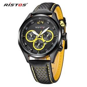 Ristos 2020 relógios de quartzo homens casual couro genuíno analógico militar relógio de pulso reloj masculino data calendário esporte masculino relógio|Relógios de quartzo| |  -