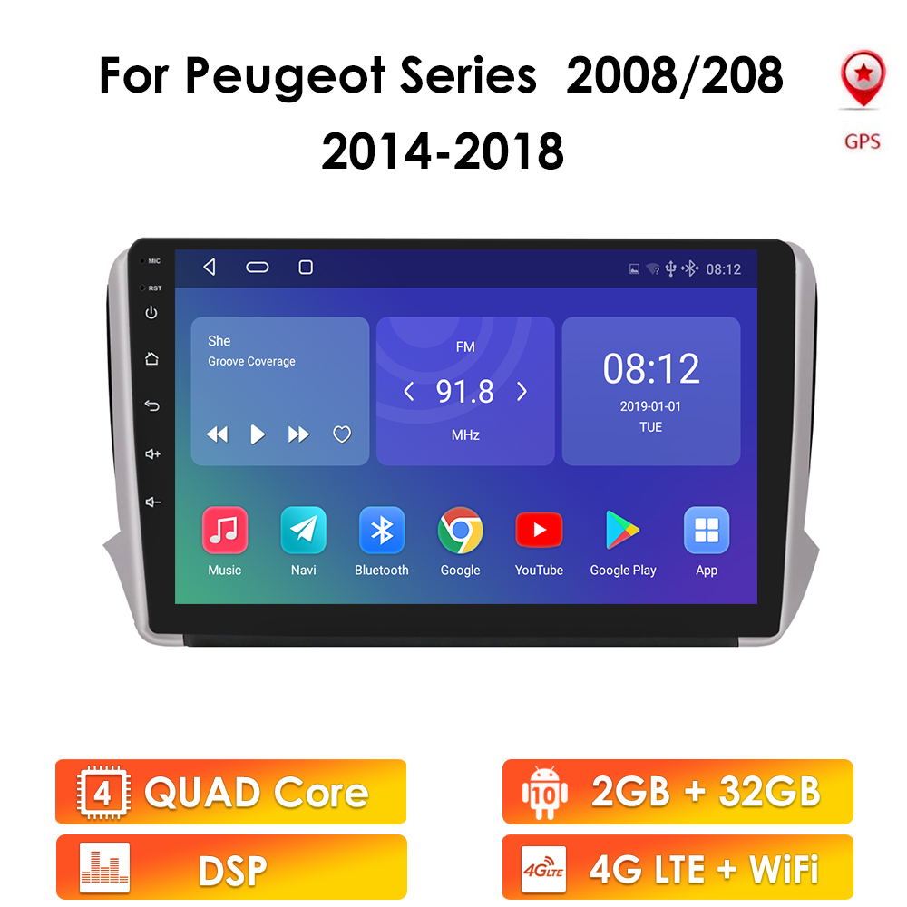 Android 10 Car Stereo For Peugeot 2008 208 series 2012-2018 Multimedia Stereo Car GPS Player Navigation GPS Radio no DVD