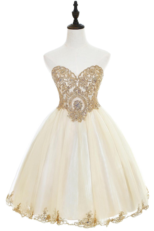 Champagne Sweetheart Tulle Knee Length Short Prom Dress