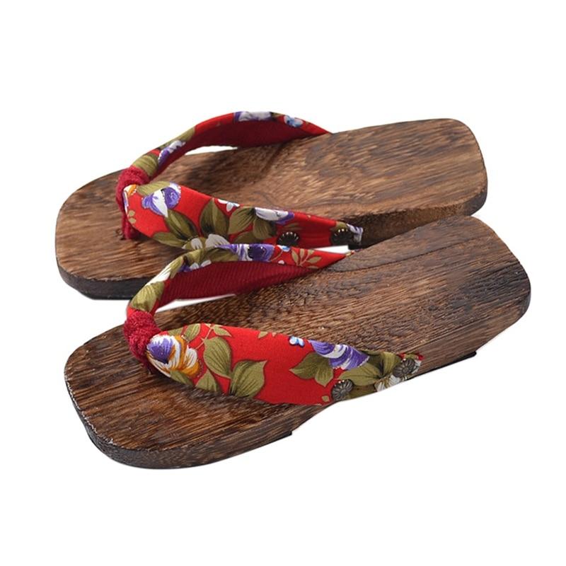 Women Ladies Japanese Geta Kimono Clogs Bidentate Flip Flops Sandals Cosplay