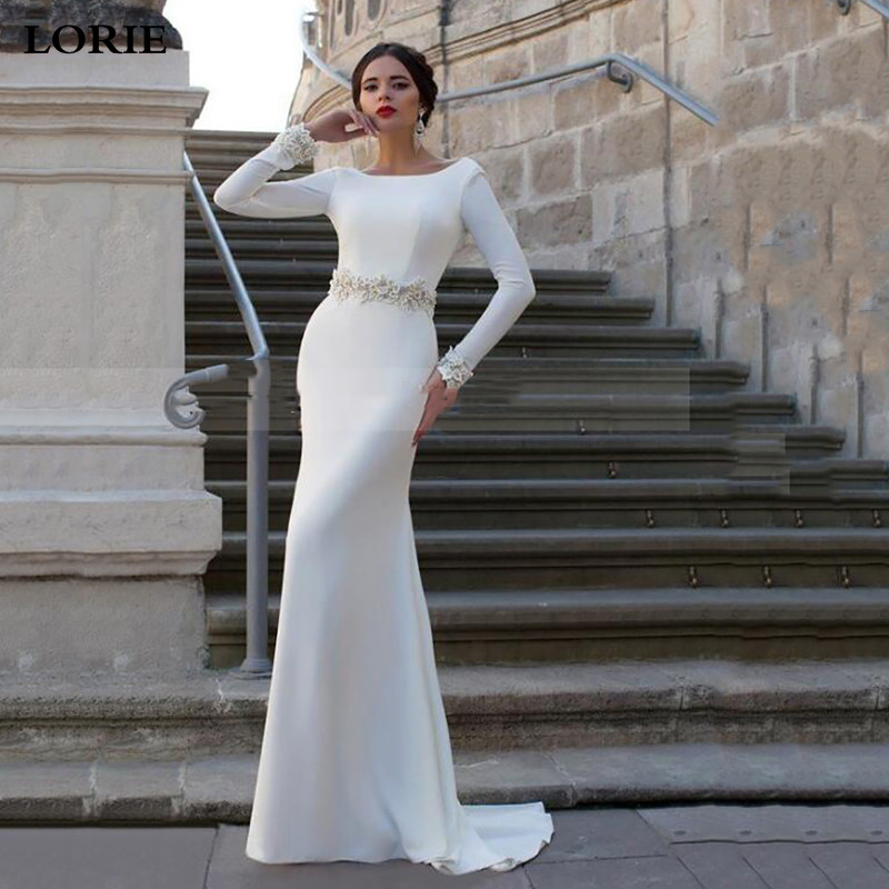LORIE Long Sleeve Mermaid Wedding Dress Princess Bride Dress Appliqued Lace Backless Satin Dubai Wedding Gowns Vestido De Voiva