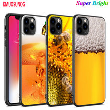 Black Silicone Case Honey bee Yellow honeycomb for iPhone 11 11Pro XS MAX XR X 8 7 6S 6 Plus 5S Gloss Phone Cover