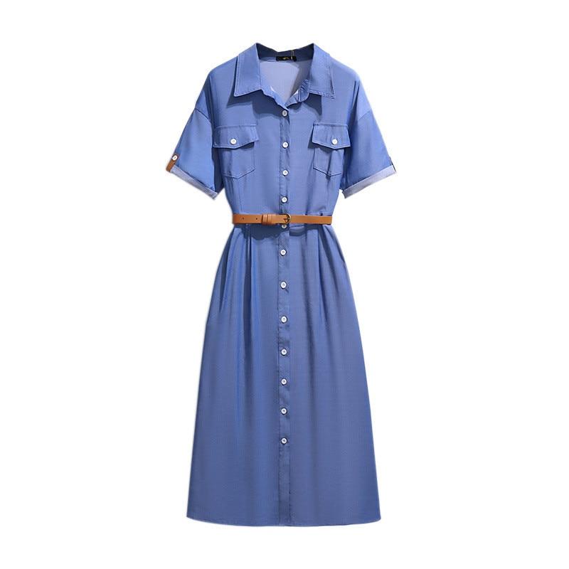 2021 Oversize Women Thin Jeans Dress Summer Short Sleeve Single-Breasted Shirt-Style Long Denim Dresses Plus Size XXL-6XL KW1139