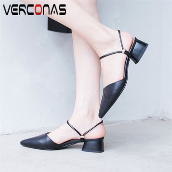 VERCONAS Women Genuine Leather Mules Slippers Thick Heel High Heeled Pointed Toe Basic Shoes Summer Elegant Sandals Shoes Woman