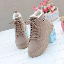 Women Shoes Fashion Flats Platform Comfortable Flock Winter Plush Sneakers Warm Black