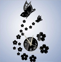20pcs/lot mirror watch fashion personality clock living room three-dimensional butterfly wall flowe