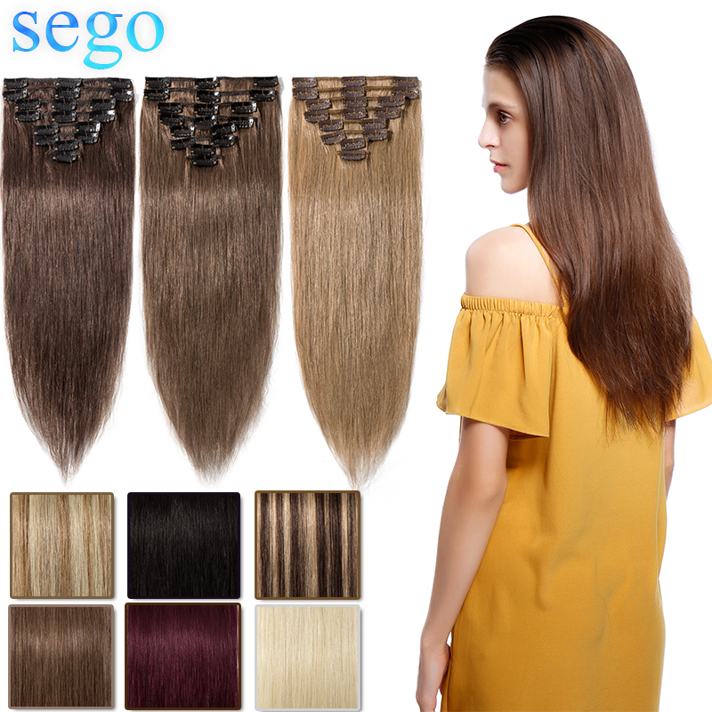 SEGO Human-Hair-Extensions Blonde Brazilian-Hair Straight-Clip Clip-In Natural Hair-8pc/Set title=