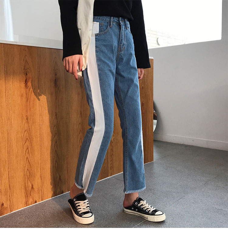 Blue Korean Stripe Jeans Ankle Length Women Loose Spring Autumn Pants Preppy Style Side Stripe Street-wear Female Trouser A63