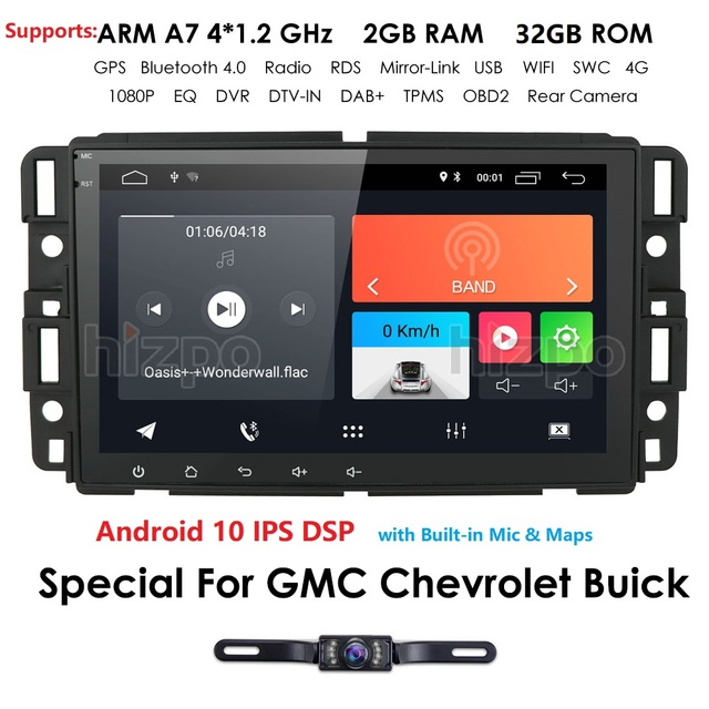 Android 10 Car Multimedia Player Radio For GMC Chevrolet Chevy Yukon Tahoe Sierra Acadia Suburban automotivo GPS Navigation 2+32