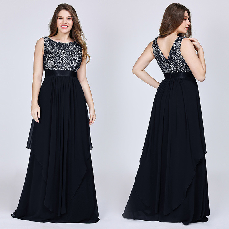 It's Yiiya Formal Dress O-Neck Lace Floor-Length Robe De Soiree Sleeveless A-Line Chiffon Plus Size Dress Woman Party C437