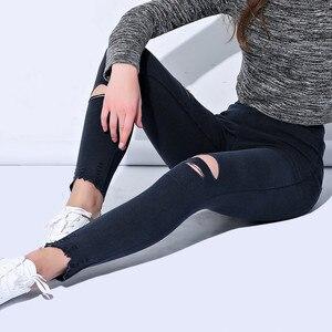 Image 3 - Leggings dames élastiques grande taille, faux jean déchiré, longueur cheville, genou avec trous, véritable poche, pantalon crayon, décontracté