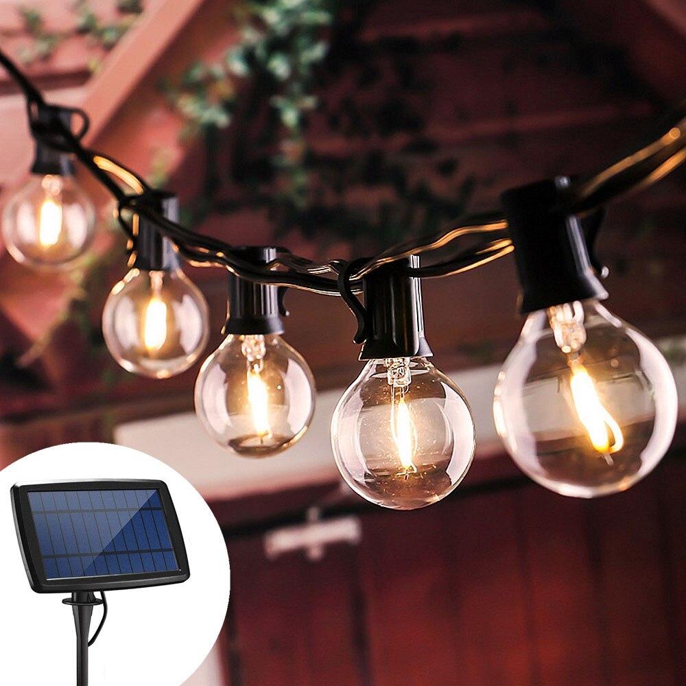 Luz solar ao ar livre luzes da corda da guirlanda de rua g40 edison vidro solar lâmpada led solar corda luz jardim solar 5/7.6m