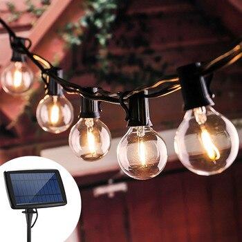 Solar Light Street Garland Christmas Lights G40 Edison Glass Solar Bulb LED Solar Lamp String Garden Holiday Light 5/7.6M