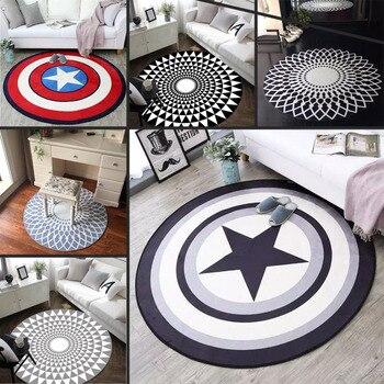 1 sztuk 80cm średnica okrągły Marvel Avengers pluszowy dywan Iron Man kapitan ameryka Batman dywan bawełna Christmas Gift dla dzieci