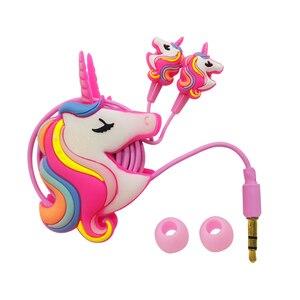 Image 2 - Funny Unicorn Cartoon Headphones Earphones Gamer Music Stereo Earbuds Outdoor Sport Running Headphones Kids Girl Gifts