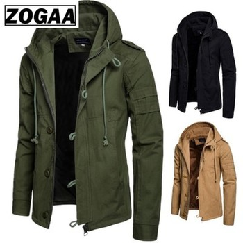 Zogaa Brand Men Jacket Army Green Military Wide-waisted Coat Casual Cotton Hooded Windbreaker Jackets Overcoat Male 2020 New fashion women thin military jacket windbreaker loose zipper button short coats female vintage camouflage army green jackets