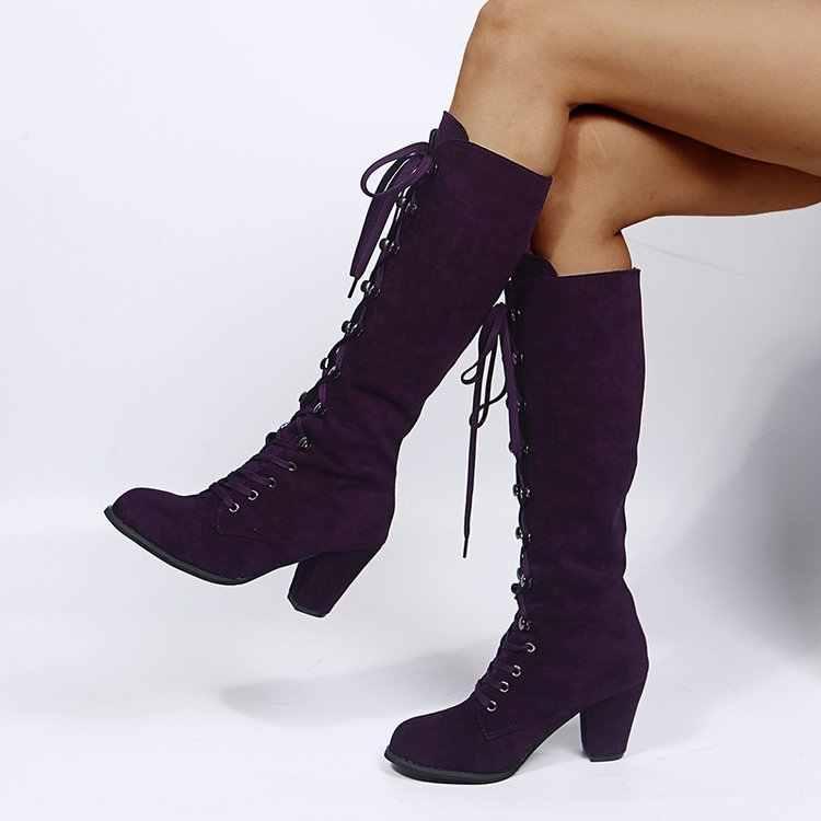 Kış sonbahar kadın diz yüksek çizmeler kadın uzun çizmeler dantel kadar moda tatlı kadın botları günlük ayakkabı 34-43 mor kare topuk