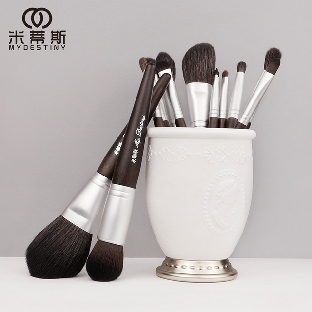 MyDestiny makeup brush black charm 13pcs animal hair brushes set for foundation blush powder eyeshadow etc   The Master Series
