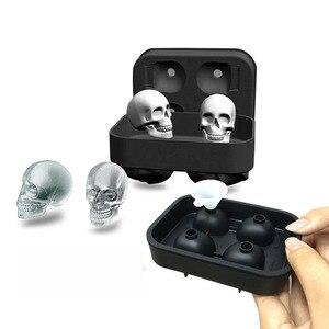 Распродажа, 1 шт., хит, большой лоток для льда, форма для пудинга, 3D череп, силиконовая форма, 4-полость, сделай сам, Ледогенератор, Хо, использов...
