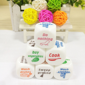 1pc Novelty Dice Game Toy Cute Familiy Housework Dice Division of Housework Dice Funny Couples Families Game Dice Fun 2cm image