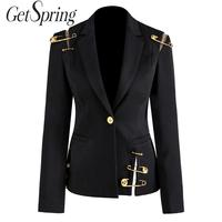 GetSpring Women Blazer Single Button Long Sleeve Women's Slim Suit Jacket Pin Stitching Irregular Ladies Black Blazer Autumn New