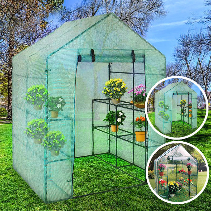 Greenhouse House Flower Plant Shed Keep Warm Shelf Roof Garden Shed Durable Portable PVC Plastic Cover Roll-up Zipper
