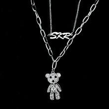 Fashion women hip hop pendant necklace stainless steel Little bear necklace for women chain  Exquisite fashion necklaces jewelry 2020 fashion hip hop chain necklace for women jewelry gifts letters and lock pendant necklace accessories