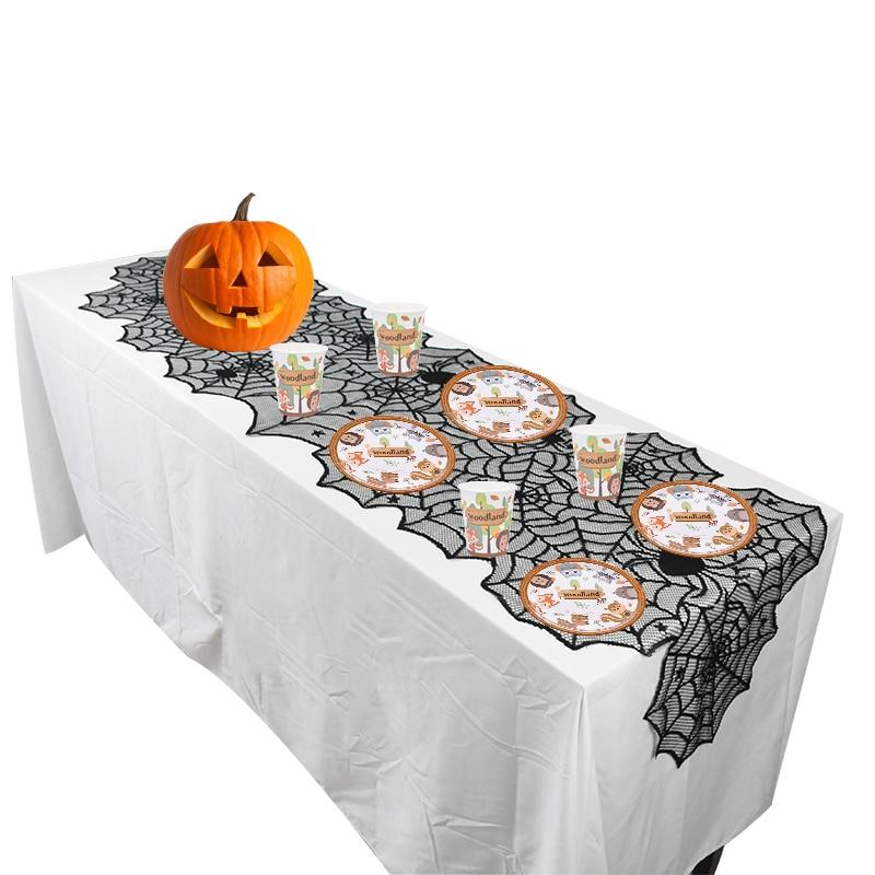 Halloween Pumpkin Lace Table Runner Knitting Tablecloth Home Decor Rectangular
