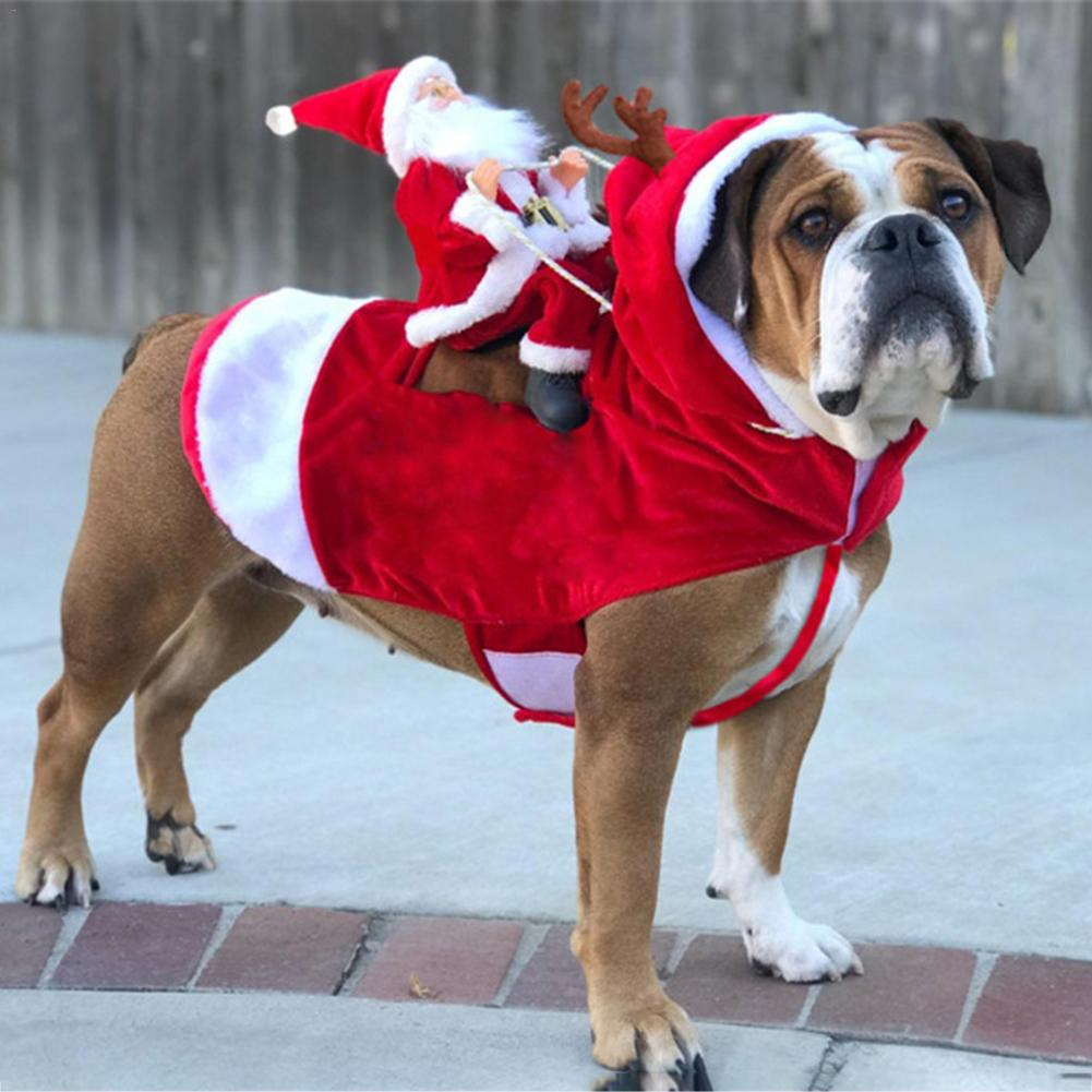 Christmas Pet Dog Clothes Santa Dog Costumes Holiday Party Dress Up Xmas Pets Clothing For Medium Dogs Funny Pet Outfit Riding
