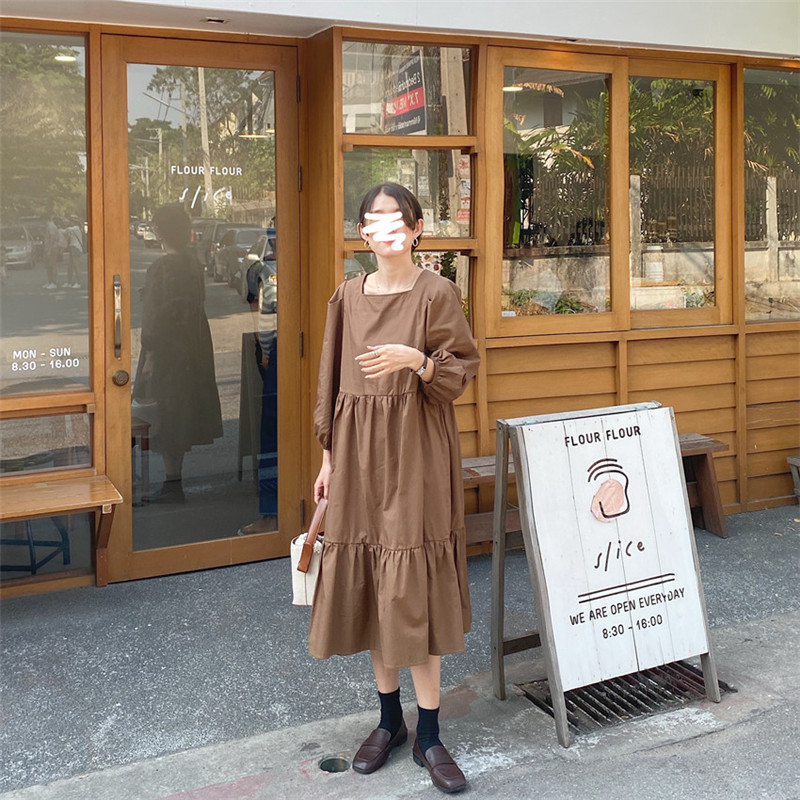 Hfa85cad9a5c6471fada0015d3d9c27c2d - Spring / Autumn Square Collar Long Lantern Sleeves Loose Solid Midi Dress