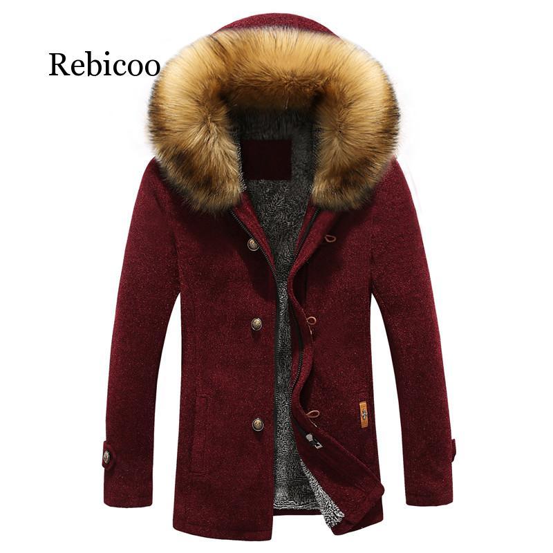 Men Fashion   Parkas   Winter Thick Warm Men's Jacket and Coats Casual Plus Size 3XL Hooded Long Coat Outwears Plush fur collar coat