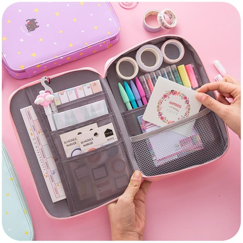 Korean Kawaii Pencil Case Storage Bag Cute Cat Big Pencil Box Make Up Pencilcase Bullet Journal School Stationery Kalem Kutusu