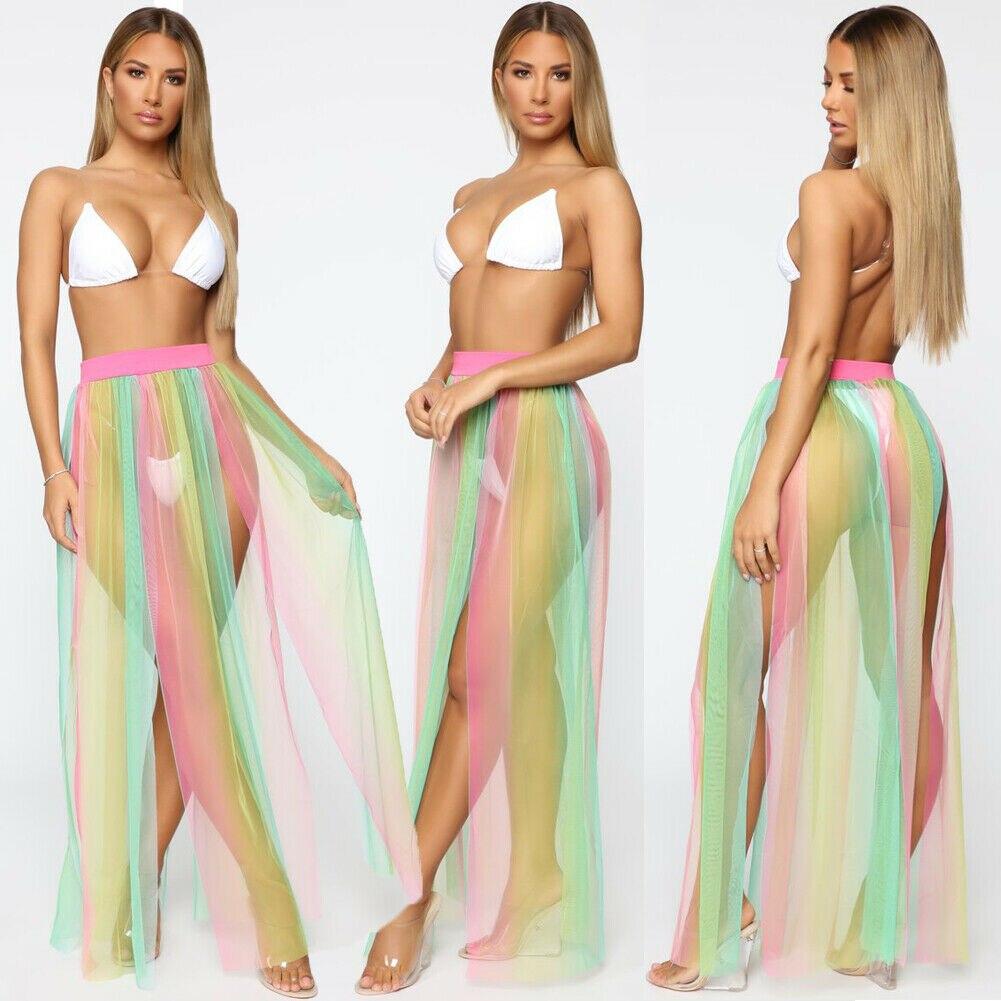 Sexy Beach Cover Up Skirt Women Lace Bikini Summer Beachwear Bathing Suit Swim Wear Maxi Wrap Skirt Bikini Beach Wear Cover Up