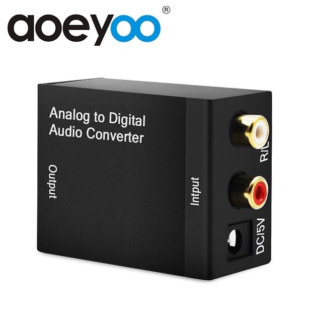 AOEYOO convertisseur TV Audio analogique-numérique Coaxial vers optique Toslink Spdif adaptateur Audio RCA L/R 3.5mm avec câble optique