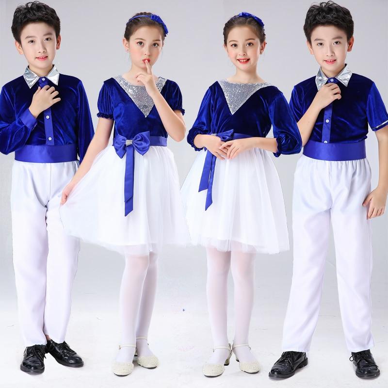 Children Formal Clothes Group Dance Dress Costumes For Kids School Choir Show Party Performance Outfit Blue Velvet Vestidos