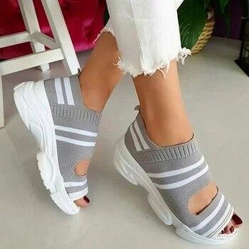 Women's Sandals Wedges Footwear Summer Platform Sandals Women Shoes Female Slip On Peep Toe Knitted Ladies Sneakers Casual 2021