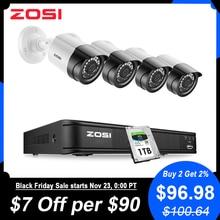ZOSI 1080P 4CH CCTV 카메라 시스템 CVBS AHD CVI TVI 비디오 방수 야외 카메라 CCTV 감시 보안 시스템 DVR 키트