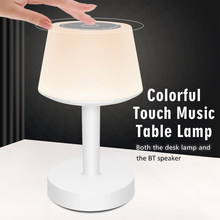 LED Table Lamp Touch WireLess Speaker Colorful Night Light Desk Lamp USB Powered BT Call Smart Music Player Lamp For Bedroom(China)