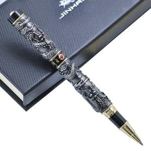 Image 2 - 高級jinhaoドラゴンボールペンヴィンテージメタル署名ペン0.7ミリメートルペン先canetaオフィス用品のギフトボックスセット材料アブラソコムツ