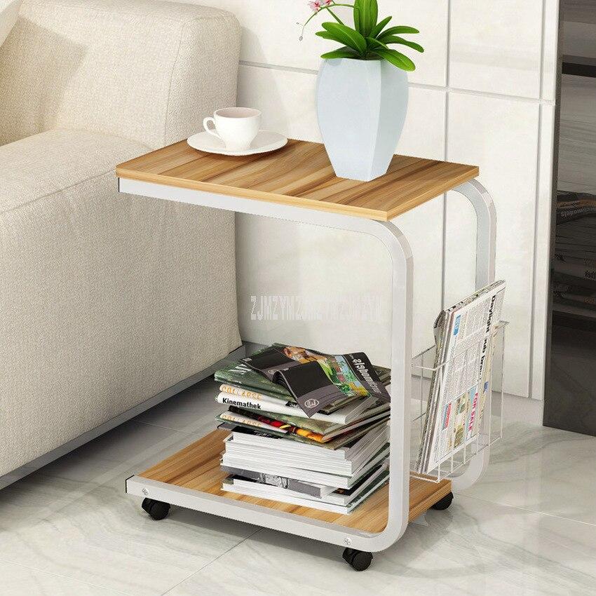 Mesa de té Simple moderna de 2 capas con rodillo fácil de mover sofá de sala de estar mesita de noche de ocio MESA DE MODA muebles para el hogar