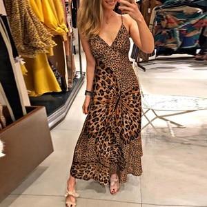 Summer New Fashion Women Sexy Deep V Leopard Butterfly Wrap Sling Sleeveless Nightclub Maxi Long Dress Free Ship платье Z4